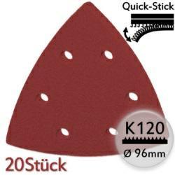 K120 Edelkorund-Schleifpapier 20Stk f. Deltaschleifer 96mm, Quick-Stick - Metall u. Holz