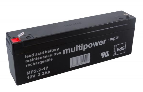 MultiPower Bleiakku MP2.2-12 12,0Volt 2,2Ah mit 4,8mm Steckanschlüssen