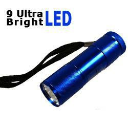 LED Taschenlampe mit 9 Ultra Bright LEDs in blau inkl. Batterien