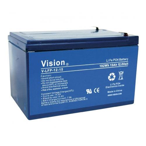 Vision LFP1215 LiFePo4 Akku mit 12 Volt und 15Ah, 180Wh