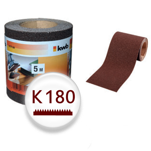 K180 Schleifpapier auf 5m Rolle, 93mm breit - für Holz und Lack, Finishing