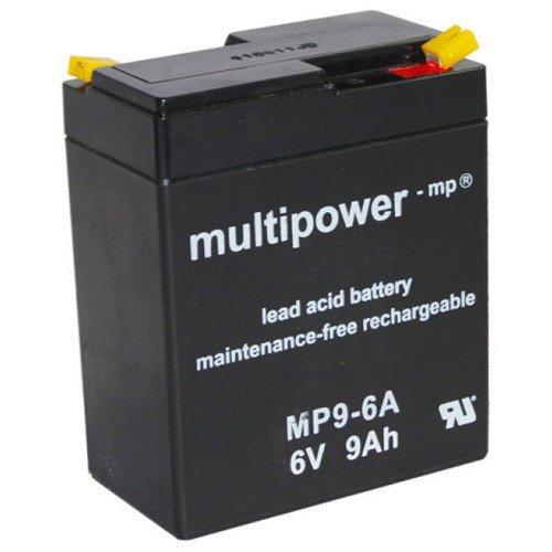Multipower Bleiakku MP9-6A 6,0Volt 9,0Ah mit 4,8mm Steckanschlüssen