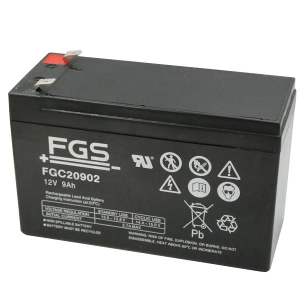 FGS FGC20902 Bleiakku 12V/9Ah Zyklenfest 6,3mm Faston