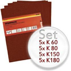 20teiliges Schleifbogen-Set mit K60, K80, K150, K180 - für Holz und Metall