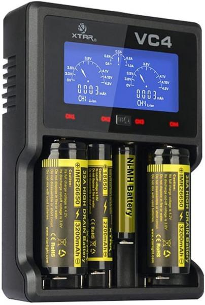 Xtar VC4 - Ladegerät für Li-Ion 3,6V/3,7V und NIMH Akkus + USB-Kabel