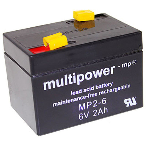 MultiPower Bleiakku MP2-6, 6,0Volt 2,0Ah mit 4,8mm Steckanschlüssen
