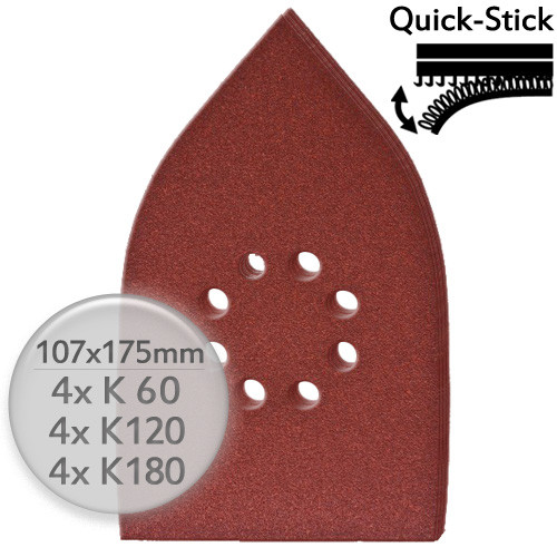 12 Stk. Sparpack K60 K120 K180 Schleifpapier 107x175mm f. Deltaschleifer m. Klett - Holz & Metall