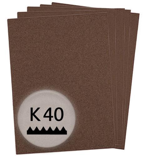 K40 Schleifpapier in 25 Bögen, 230x280mm - für Metall und Stahl