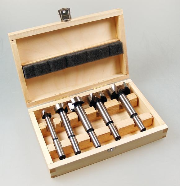 HiKoki Forstnerbohrer-Set 5-teilig in Holz-Kassette mit 15 / 20 / 25 / 30 / 35 mm Bohrer