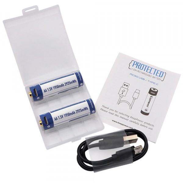 2 Stück Keeppower Mignon AA Akku 1,5V Li-Ion 1,95Ah, inkl. Akkubox, 2fach USB-Ladekabel