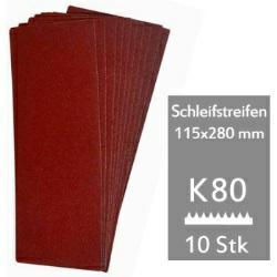 Schleifstreifen K80 f. Schwingschleifer 115x280 mm - 10er Pack für Holz und Metall