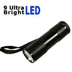 LED Taschenlampe mit 9 Ultra Bright LEDs in schwarz inkl. Batterien