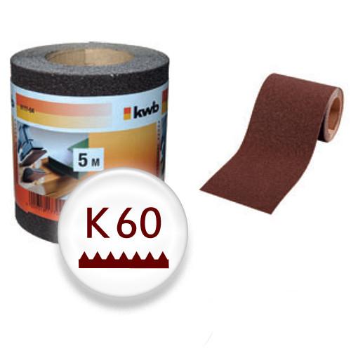 K60 Schleifpapier auf 5m Rolle, 115mm breit - für Holz und Lack, Finishing