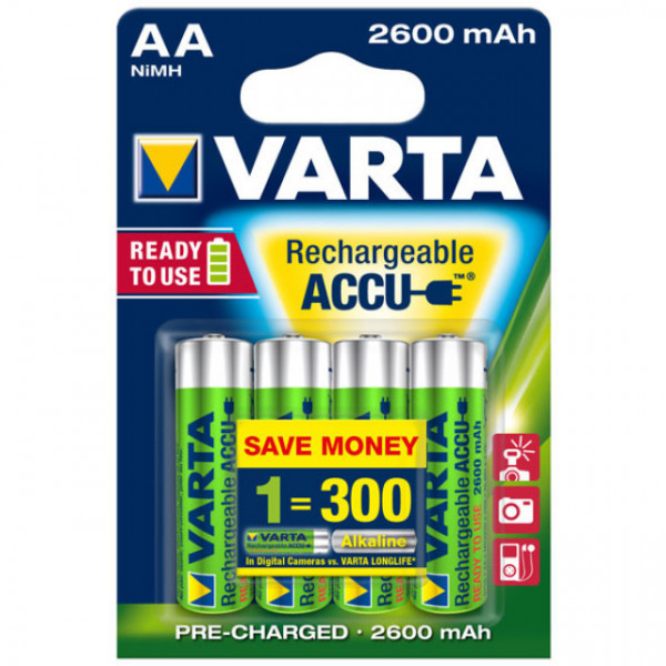 Varta 5716 Power Ready2Use Mignon (AA) Akku 1,2Volt 2600mAh NiMH im 4er Pack