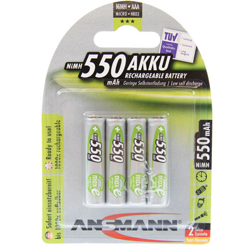 ANSMANN maxE Micro (AAA) Green Akku 1,2Volt 550mAh NiMH im 4er Blister