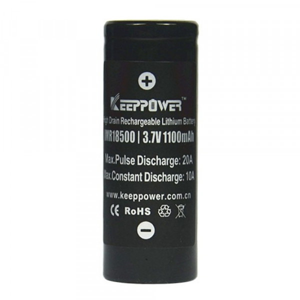 Keeppower IMR18500 1100mAh 3,7V (10A) Lithium-Ionen-Akku, ungeschützt