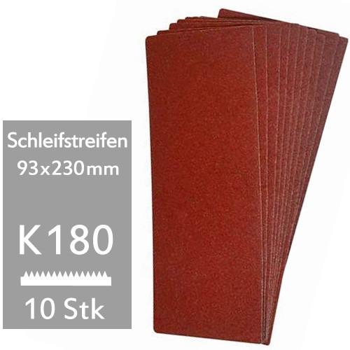 10er Pack K180 Schleifstreifen 93x230mm f. Schwingschleifer - für Holz und Metall