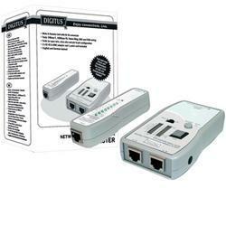 DIGITUS Netzwerk- und Kommunikations-Kabeltester, RJ45 + BNC mit LED Statusanzeige, DN-14001