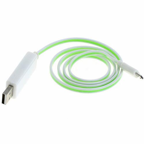 leuchtendes USB auf Micro-USB Kabel 80cm weiss grün