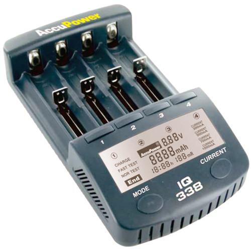 AccuPower IQ-338 LCD Schnell-Ladegerät mit USB Ladebuchse
